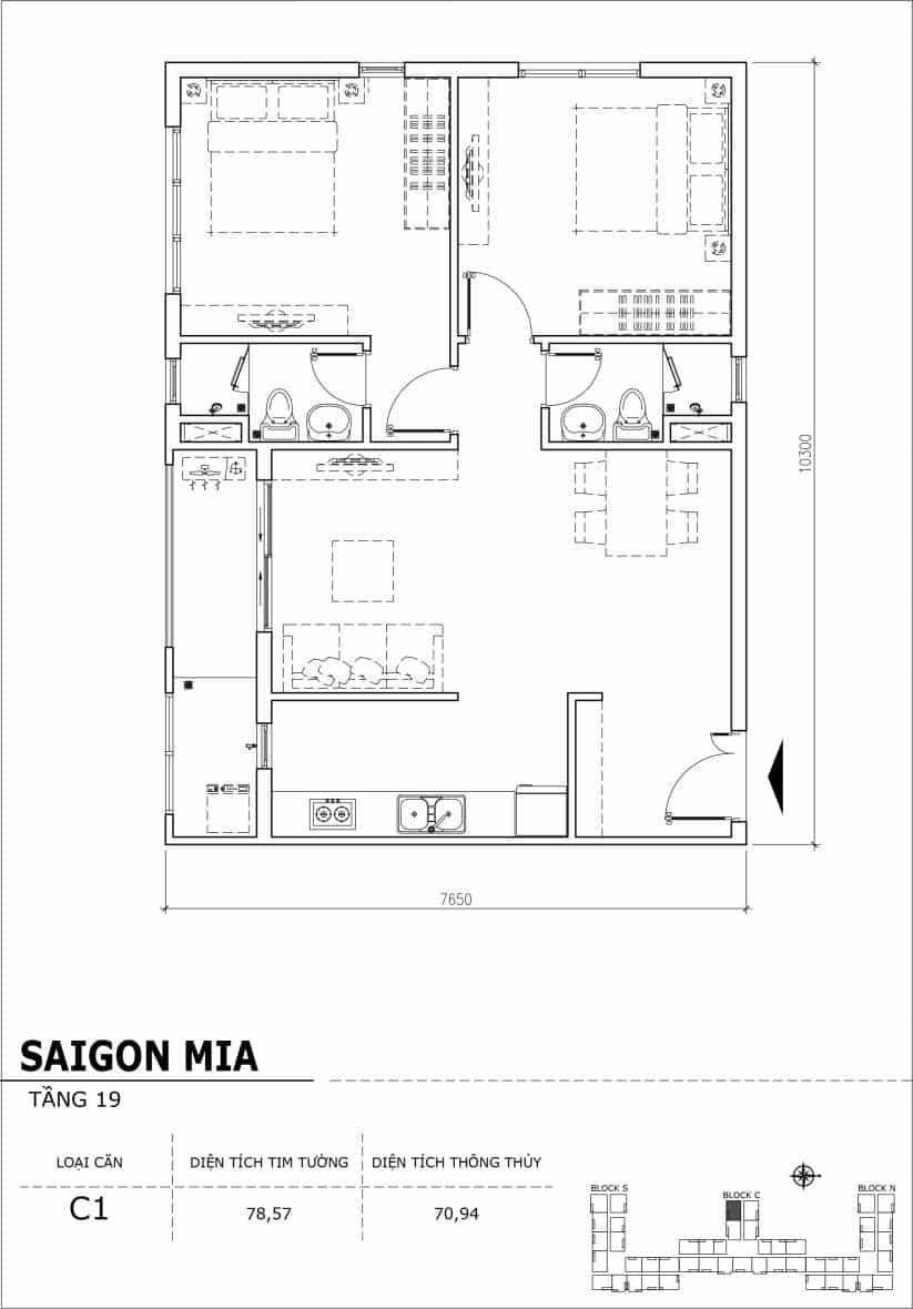Chi tiết thiết kế căn hộ sân vườn tầng 19 Sài Gòn Mia Hưng Thịnh-Căn C1