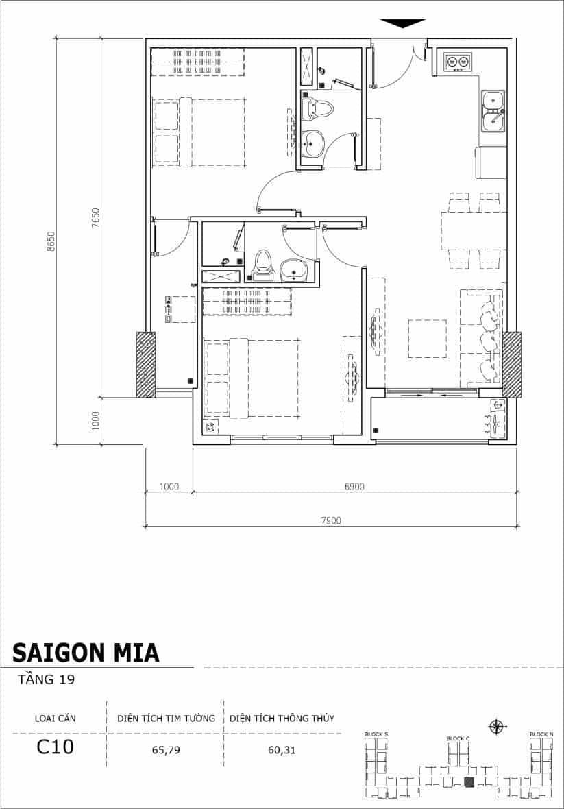 Chi tiết thiết kế căn hộ sân vườn tầng 19 Sài Gòn Mia Hưng Thịnh-Căn C10