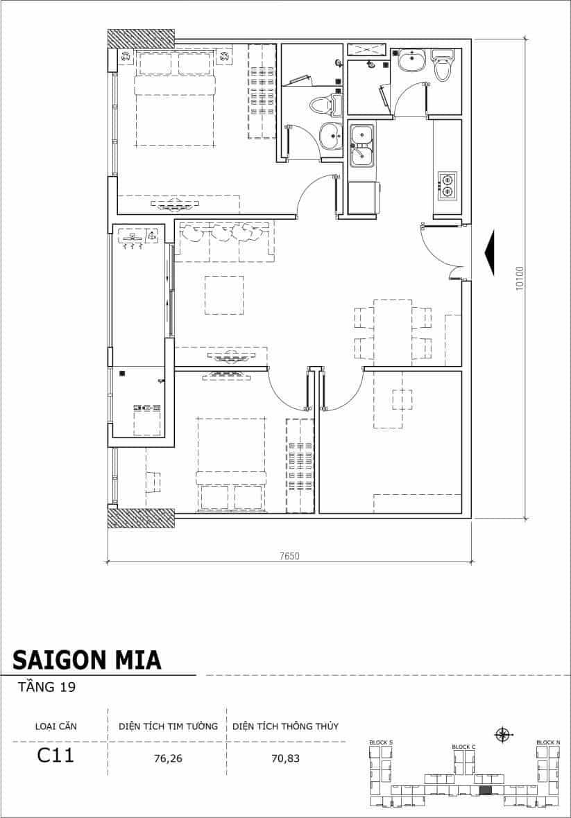 Chi tiết thiết kế căn hộ sân vườn tầng 19 Sài Gòn Mia Hưng Thịnh-Căn C11