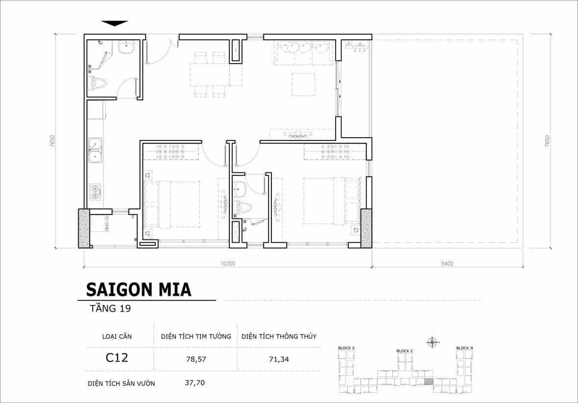 Chi tiết thiết kế căn hộ sân vườn tầng 19 Sài Gòn Mia Hưng Thịnh-Căn C12