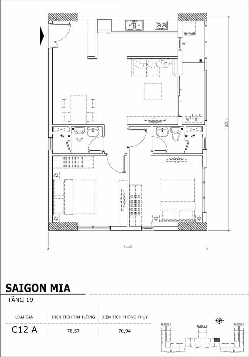 Chi tiết thiết kế căn hộ sân vườn tầng 19 Sài Gòn Mia Hưng Thịnh-Căn C12A