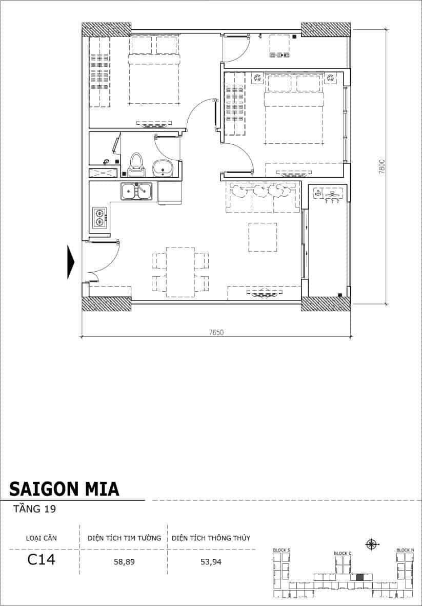 Chi tiết thiết kế căn hộ sân vườn tầng 19 Sài Gòn Mia Hưng Thịnh-Căn C14