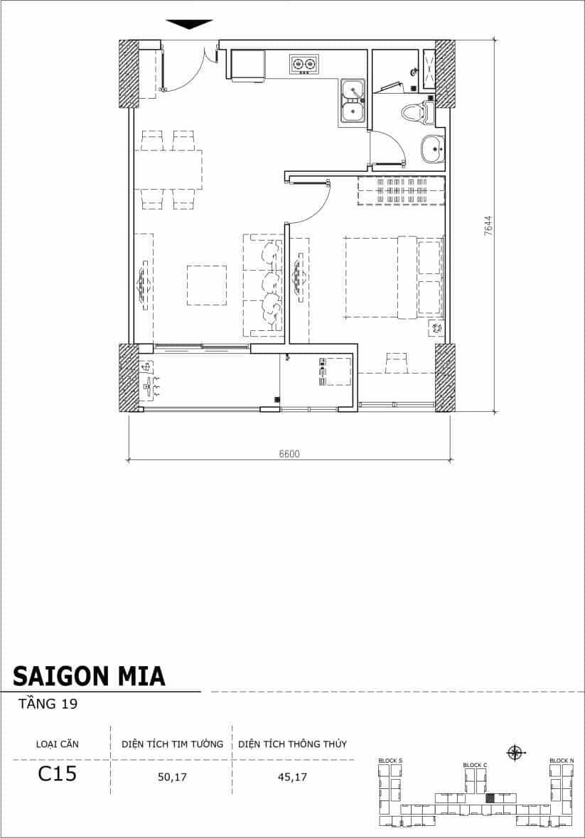 Chi tiết thiết kế căn hộ sân vườn tầng 19 Sài Gòn Mia Hưng Thịnh-Căn C15