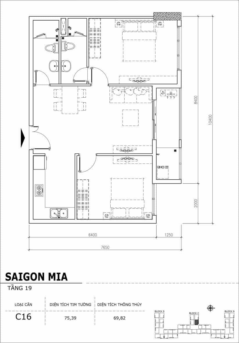 Chi tiết thiết kế căn hộ sân vườn tầng 19 Sài Gòn Mia Hưng Thịnh-Căn C16
