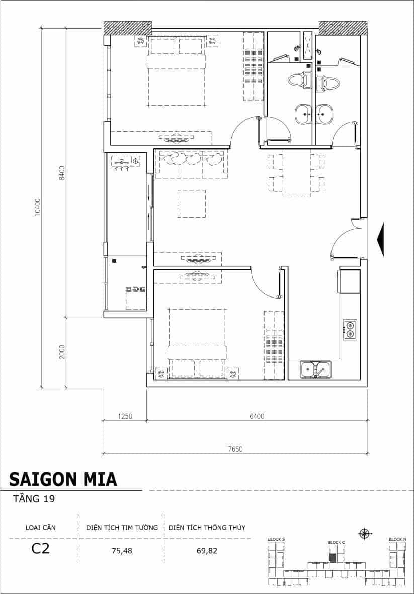 Chi tiết thiết kế căn hộ sân vườn tầng 19 Sài Gòn Mia Hưng Thịnh-Căn C2