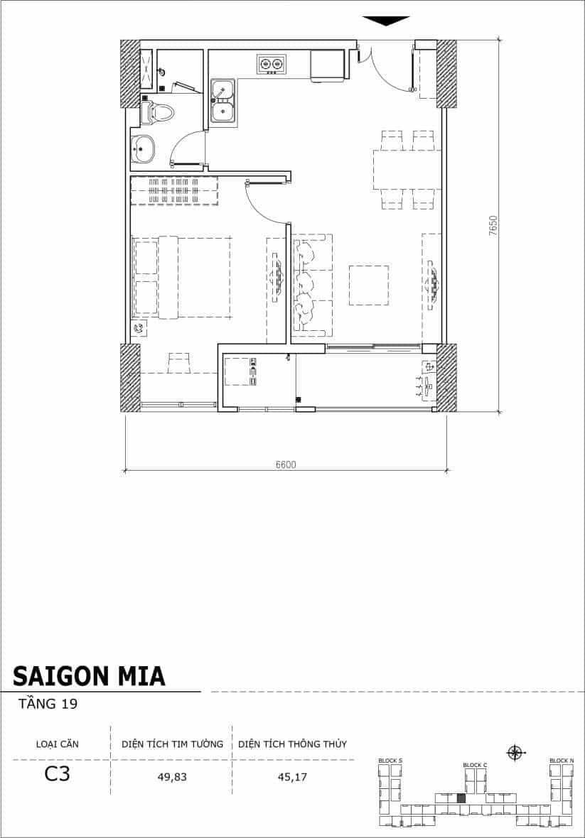 Chi tiết thiết kế căn hộ sân vườn tầng 19 Sài Gòn Mia Hưng Thịnh-Căn C3
