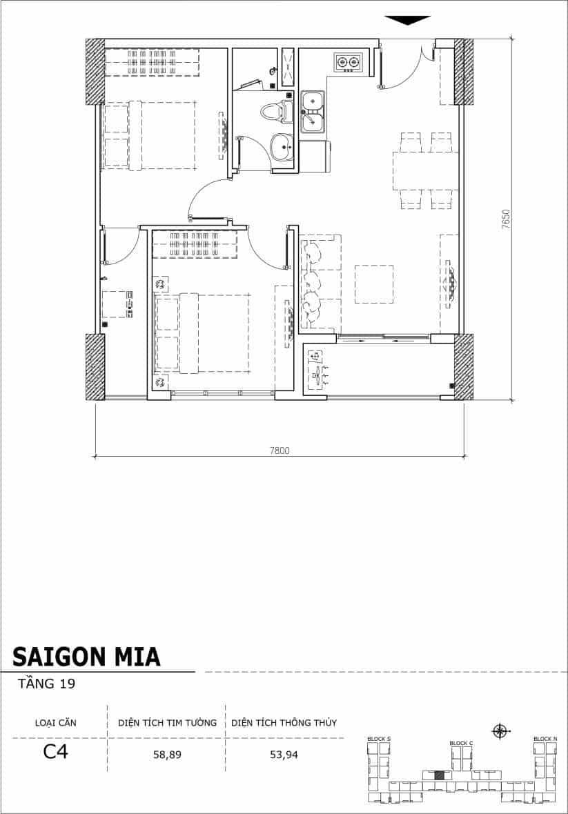 Chi tiết thiết kế căn hộ sân vườn tầng 19 Sài Gòn Mia Hưng Thịnh-Căn C4