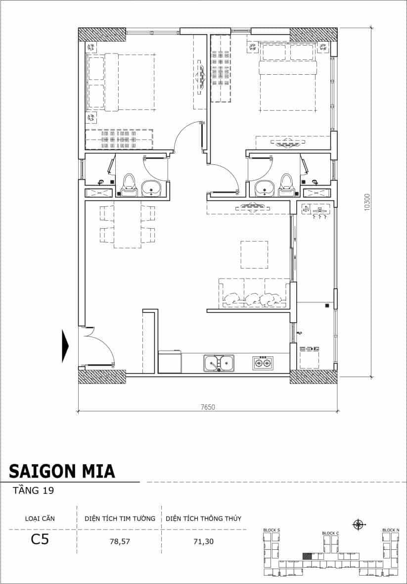 Chi tiết thiết kế căn hộ sân vườn tầng 19 Sài Gòn Mia Hưng Thịnh-Căn C5