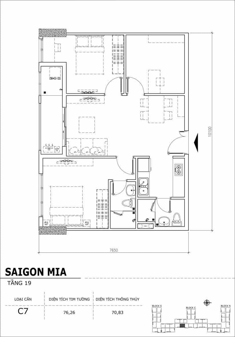 Chi tiết thiết kế căn hộ sân vườn tầng 19 Sài Gòn Mia Hưng Thịnh-Căn C7