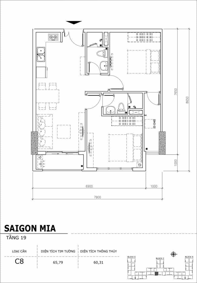 Chi tiết thiết kế căn hộ sân vườn tầng 19 Sài Gòn Mia Hưng Thịnh-Căn C8
