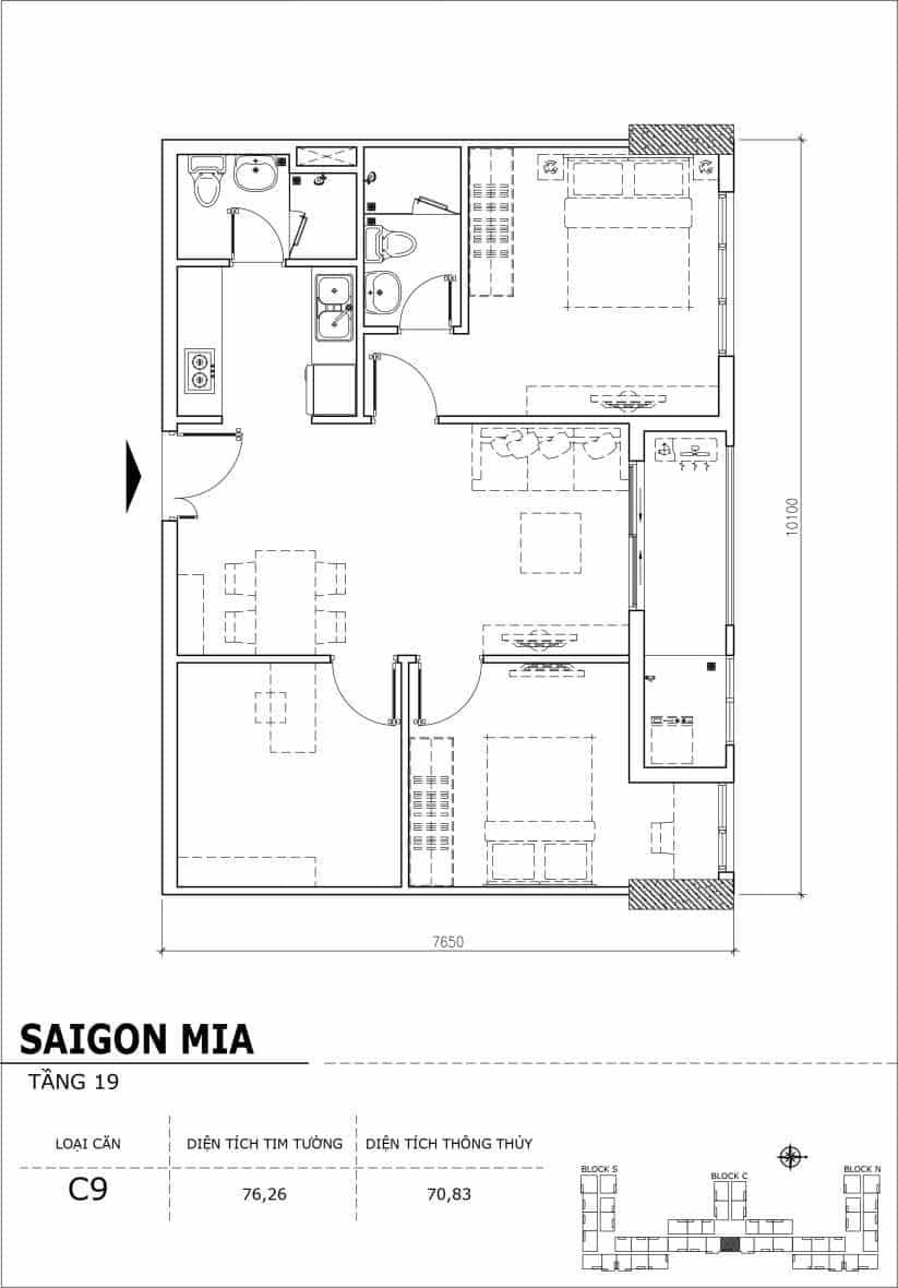 Chi tiết thiết kế căn hộ sân vườn tầng 19 Sài Gòn Mia Hưng Thịnh-Căn C9