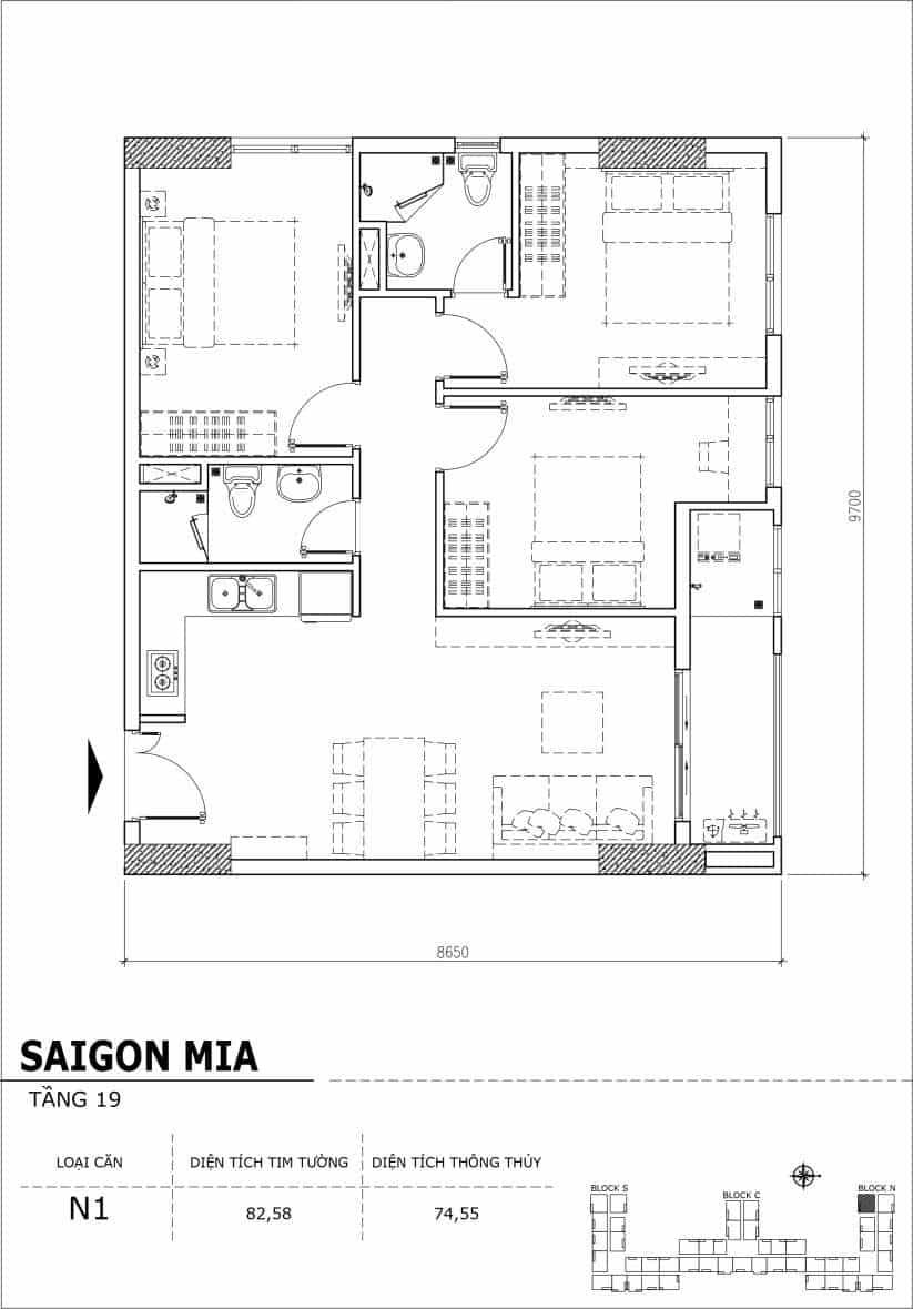 Chi tiết thiết kế căn hộ sân vườn tầng 19 Sài Gòn Mia Hưng Thịnh-Căn N1