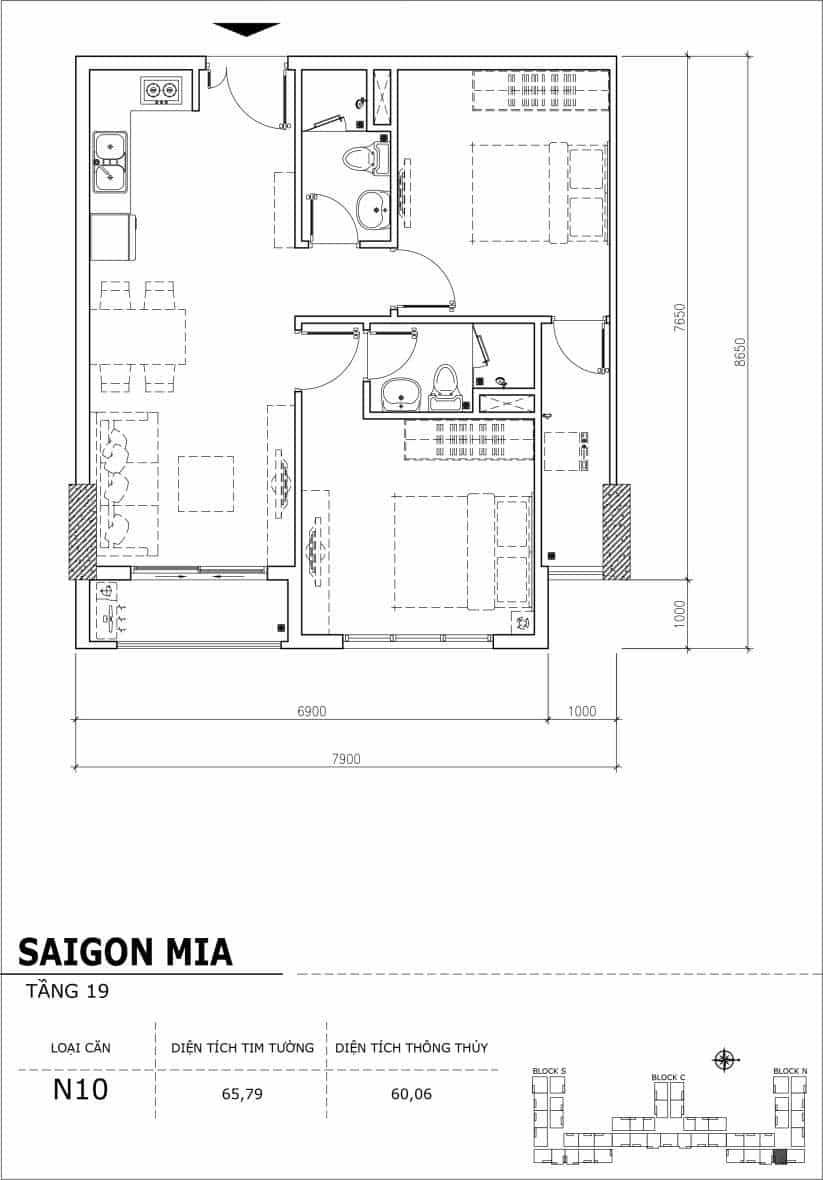 Chi tiết thiết kế căn hộ sân vườn tầng 19 Sài Gòn Mia Hưng Thịnh-Căn N10