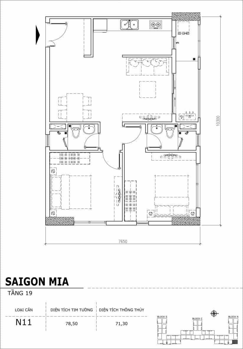 Chi tiết thiết kế căn hộ sân vườn tầng 19 Sài Gòn Mia Hưng Thịnh-Căn N11