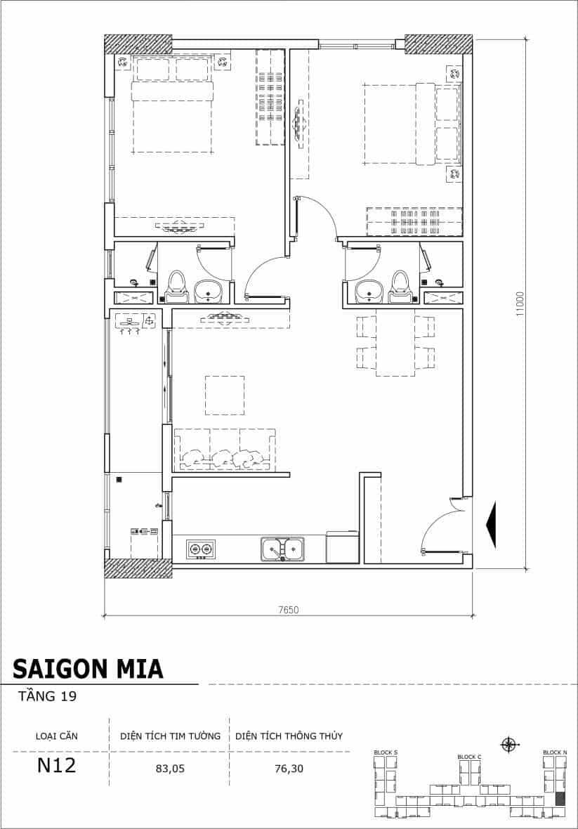 Chi tiết thiết kế căn hộ sân vườn tầng 19 Sài Gòn Mia Hưng Thịnh-Căn N12