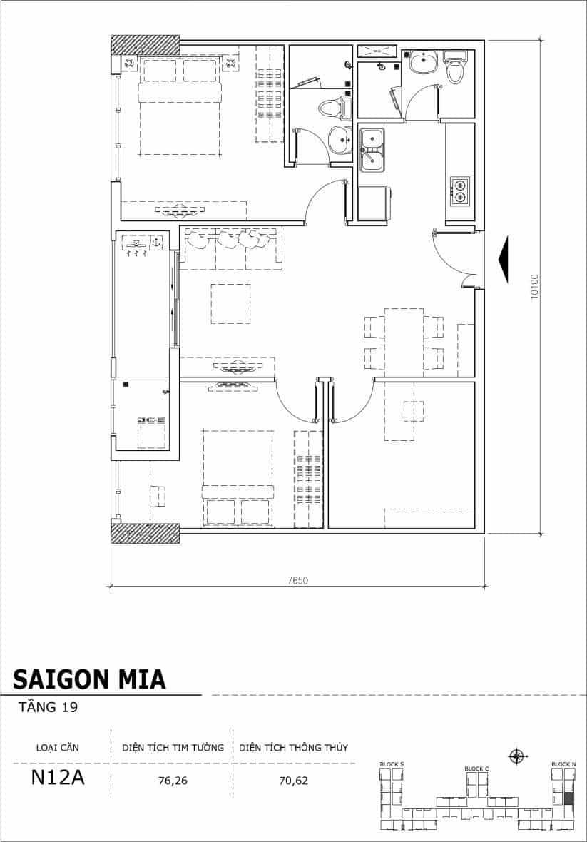 Chi tiết thiết kế căn hộ sân vườn tầng 19 Sài Gòn Mia Hưng Thịnh-Căn N12A