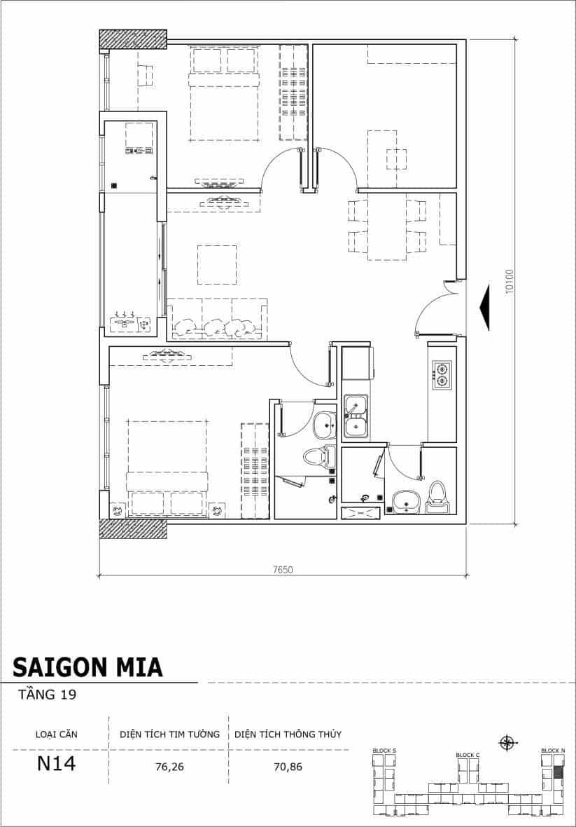 Chi tiết thiết kế căn hộ sân vườn tầng 19 Sài Gòn Mia Hưng Thịnh-Căn N14
