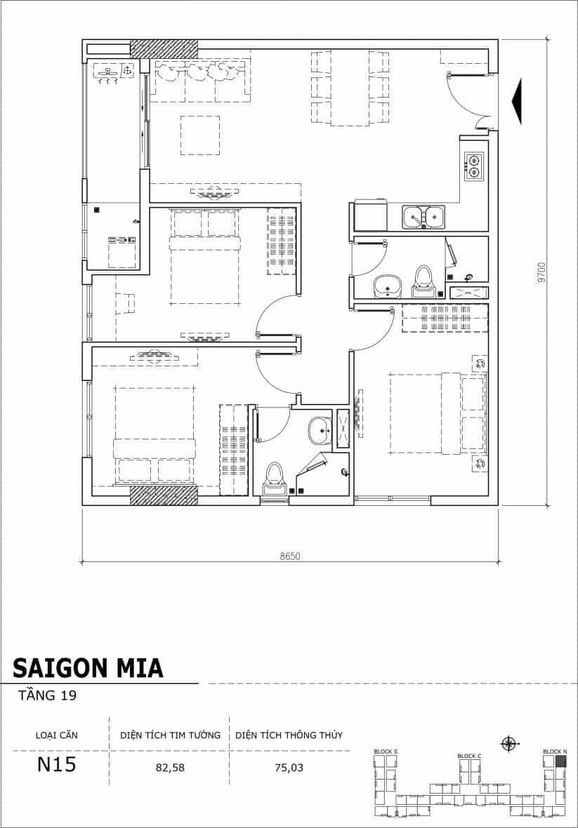 Chi tiết thiết kế căn hộ sân vườn tầng 19 Sài Gòn Mia Hưng Thịnh-Căn N15
