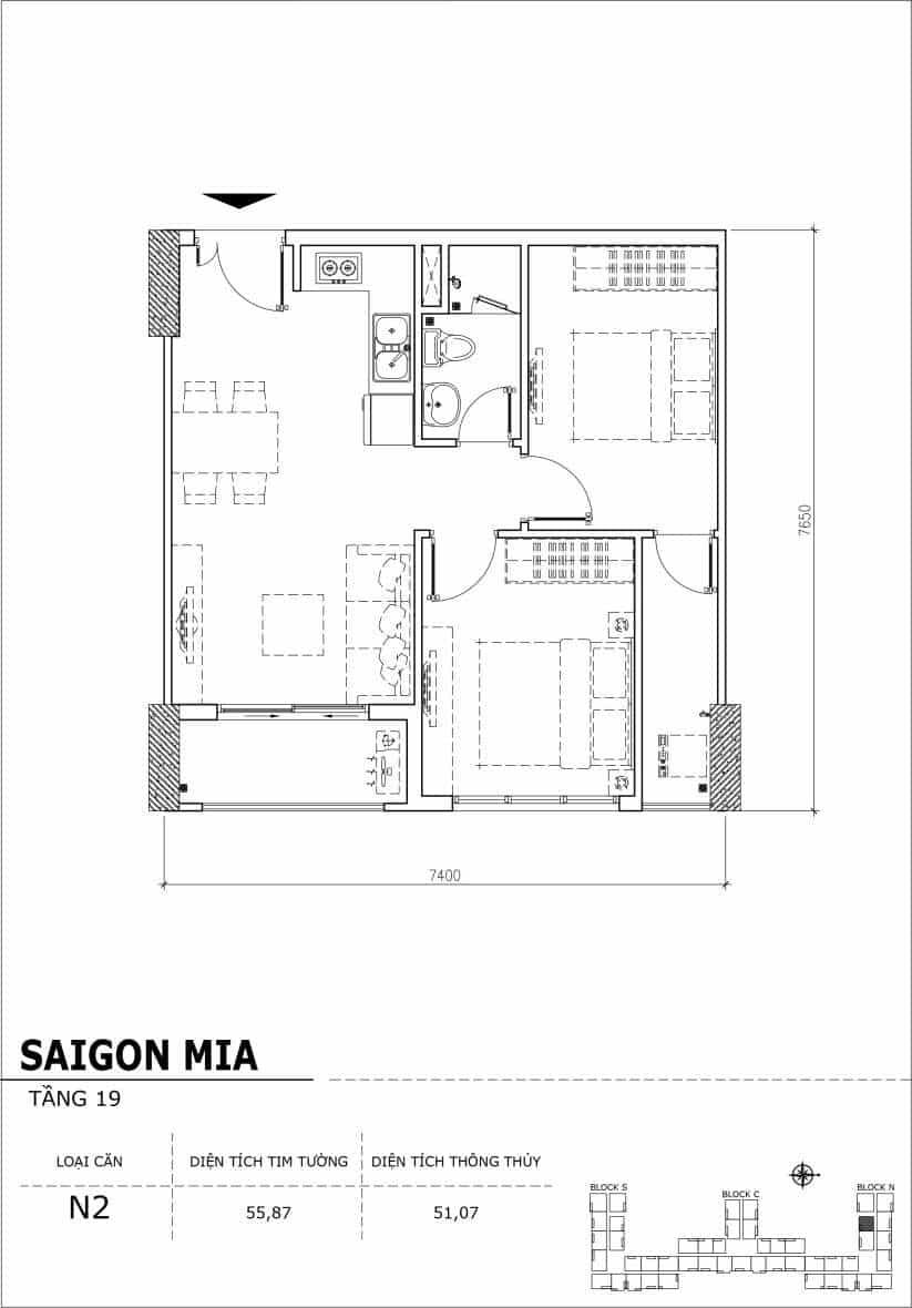 Chi tiết thiết kế căn hộ sân vườn tầng 19 Sài Gòn Mia Hưng Thịnh-Căn N2