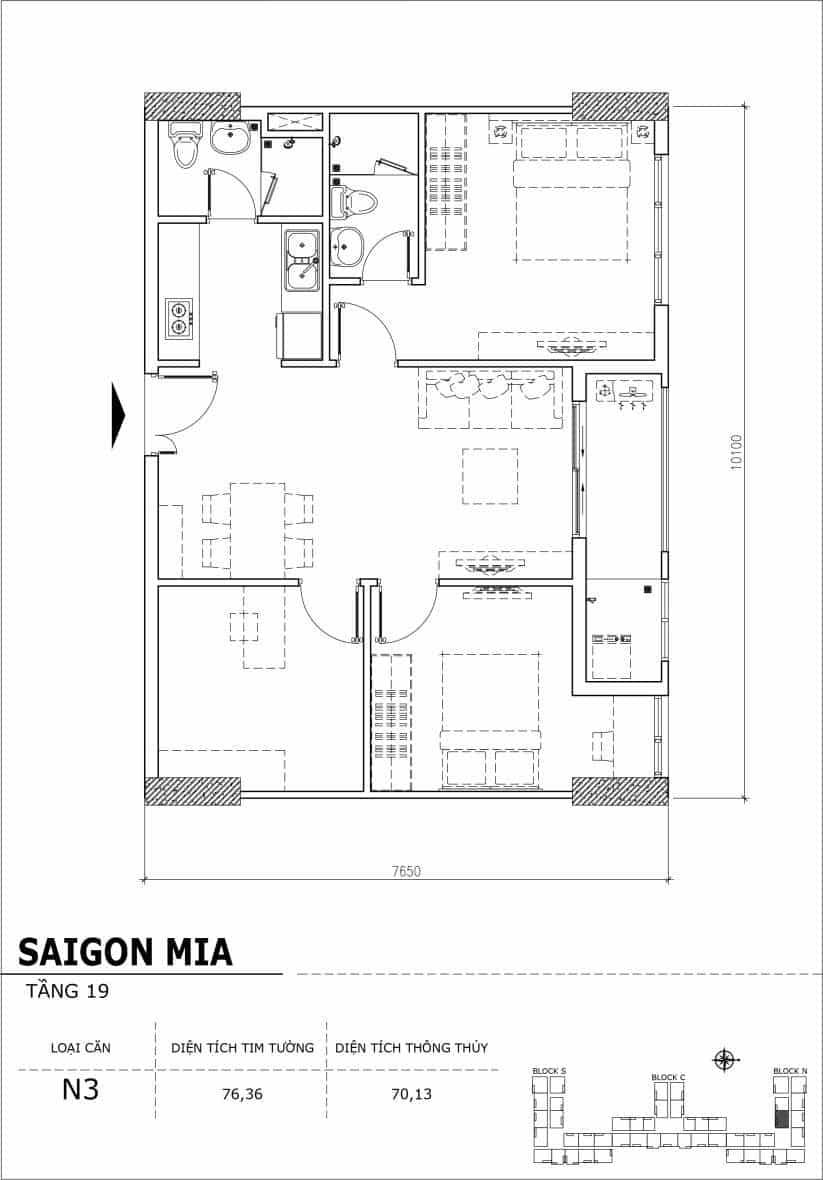 Chi tiết thiết kế căn hộ sân vườn tầng 19 Sài Gòn Mia Hưng Thịnh-Căn N3