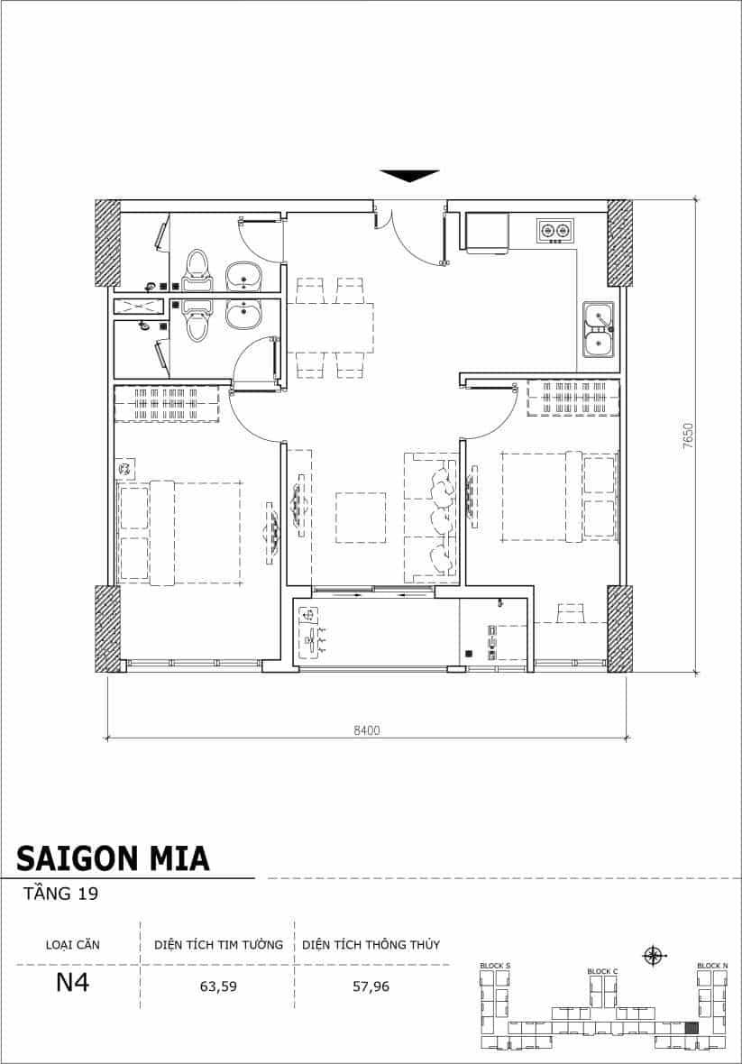 Chi tiết thiết kế căn hộ sân vườn tầng 19 Sài Gòn Mia Hưng Thịnh-Căn N4