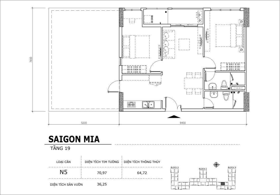 Chi tiết thiết kế căn hộ sân vườn tầng 19 Sài Gòn Mia Hưng Thịnh-Căn N5