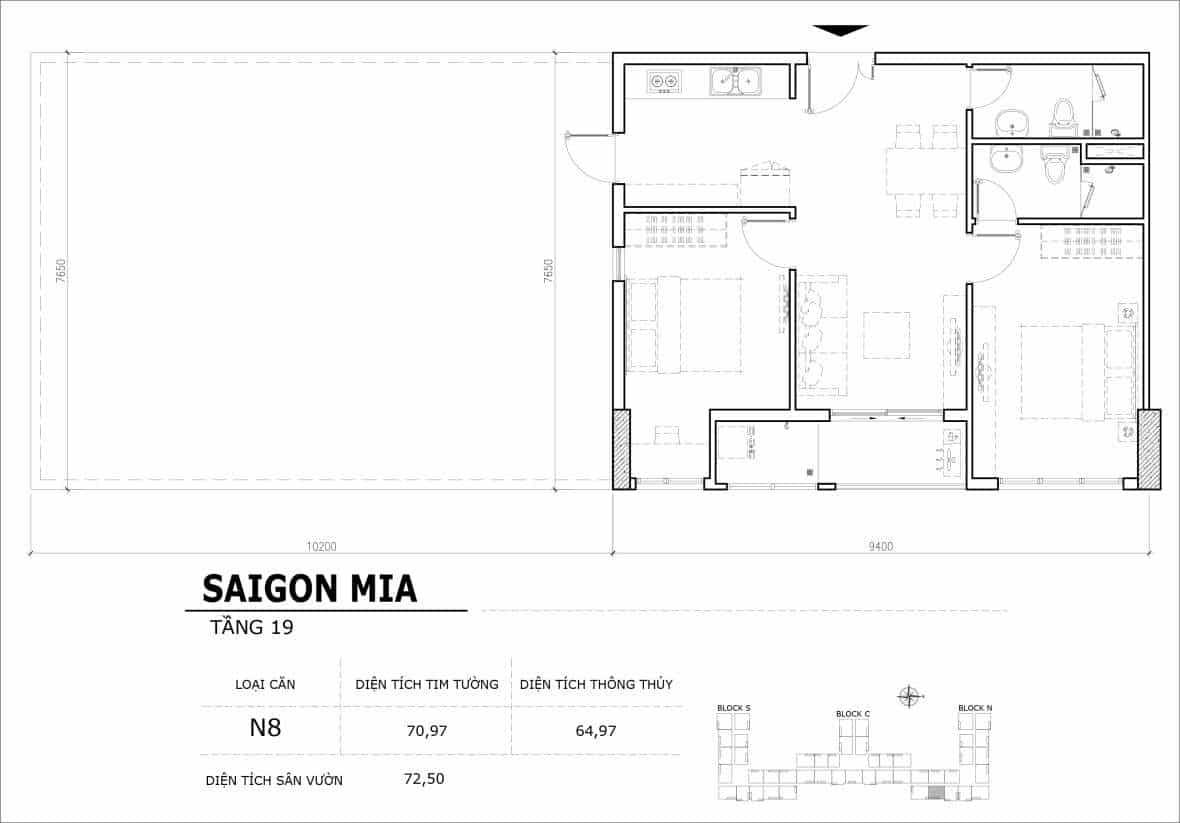 Chi tiết thiết kế căn hộ sân vườn tầng 19 Sài Gòn Mia Hưng Thịnh-Căn N6