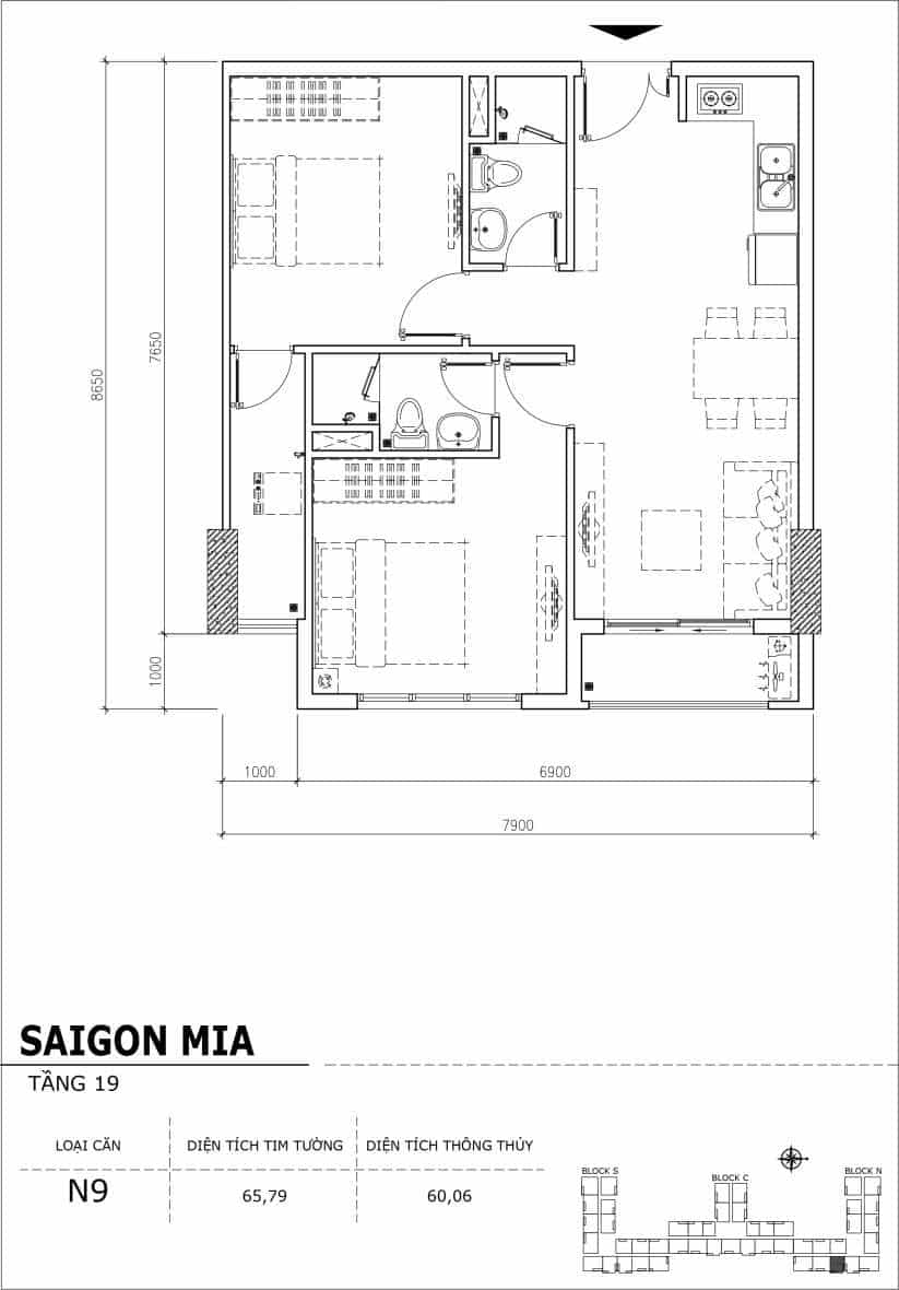 Chi tiết thiết kế căn hộ sân vườn tầng 19 Sài Gòn Mia Hưng Thịnh-Căn N9