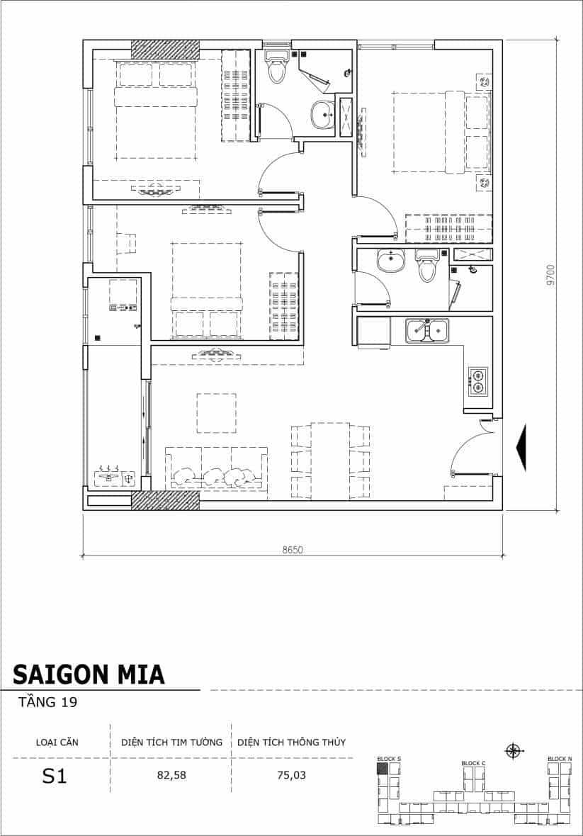 Chi tiết thiết kế căn hộ sân vườn tầng 19 Sài Gòn Mia Hưng Thịnh-Căn S1