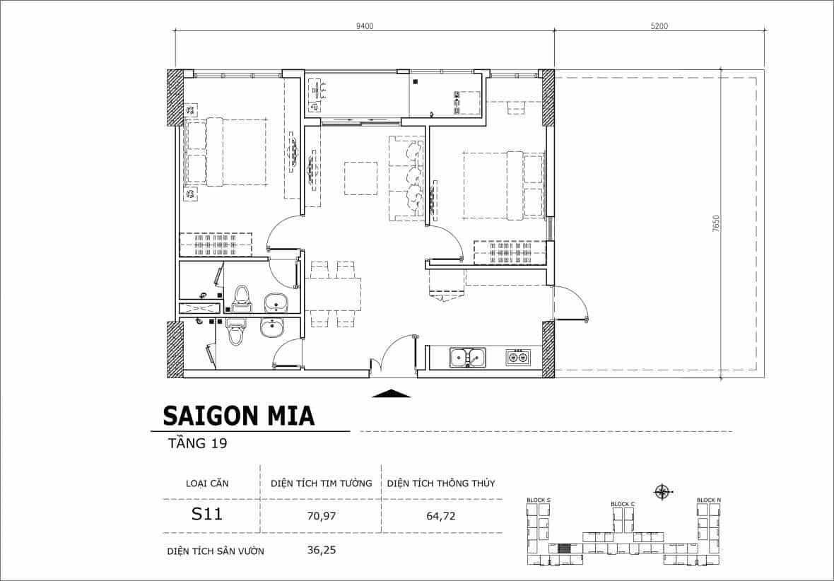 Chi tiết thiết kế căn hộ sân vườn tầng 19 Sài Gòn Mia Hưng Thịnh-Căn S11