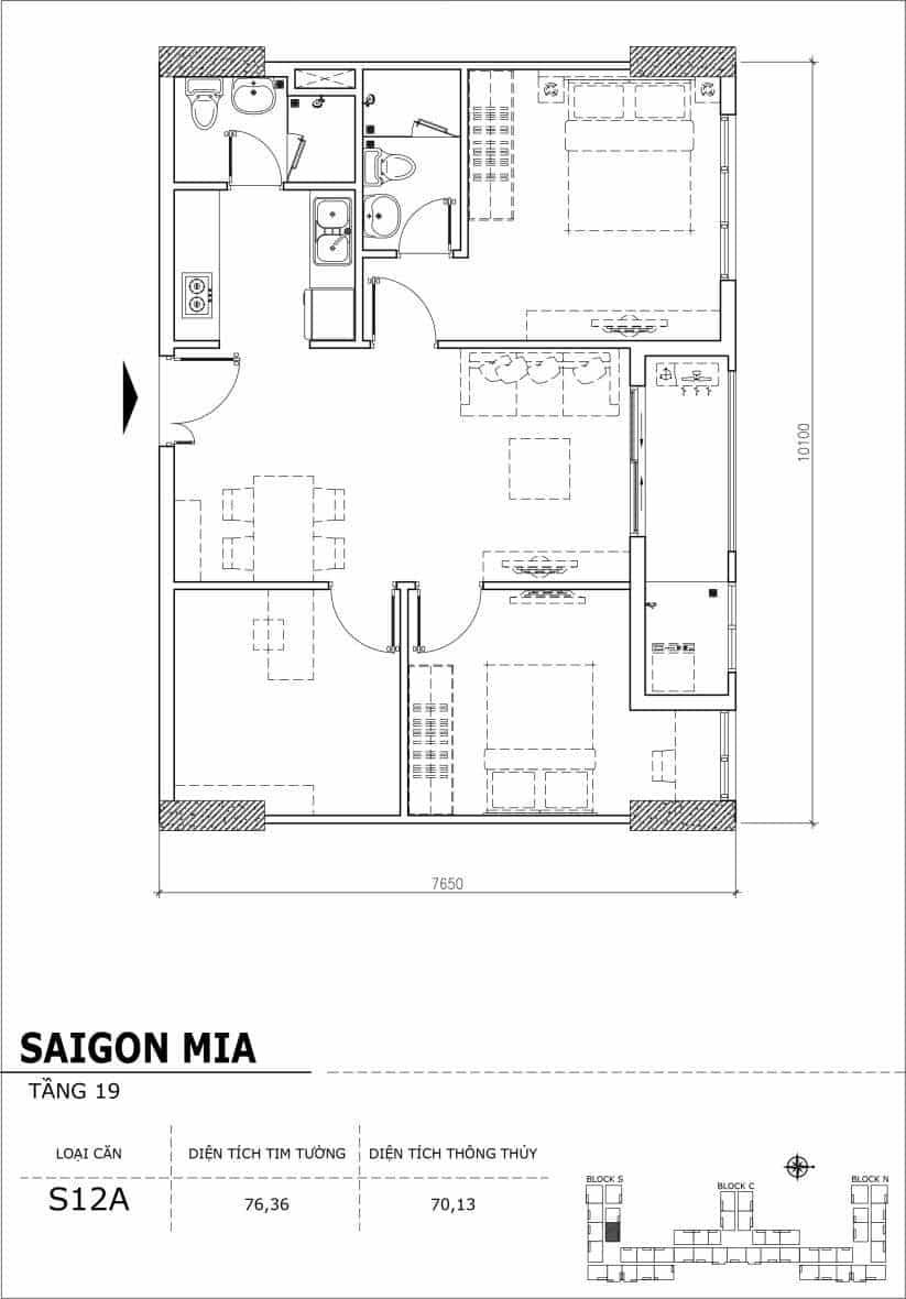 Chi tiết thiết kế căn hộ sân vườn tầng 19 Sài Gòn Mia Hưng Thịnh-Căn S12A