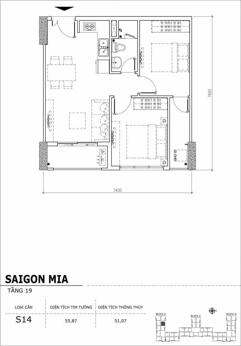 Chi tiết thiết kế căn hộ sân vườn tầng 19 Sài Gòn Mia Hưng Thịnh-Căn S14
