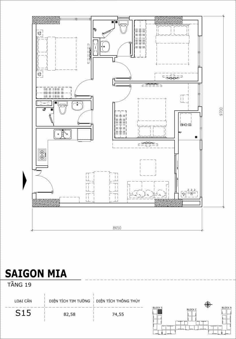 Chi tiết thiết kế căn hộ sân vườn tầng 19 Sài Gòn Mia Hưng Thịnh-Căn S15