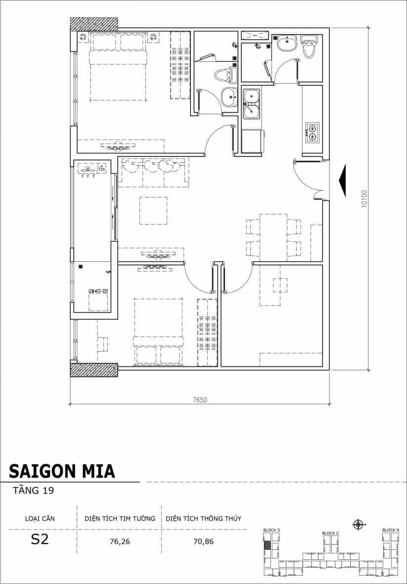 Chi tiết thiết kế căn hộ sân vườn tầng 19 Sài Gòn Mia Hưng Thịnh-Căn S2