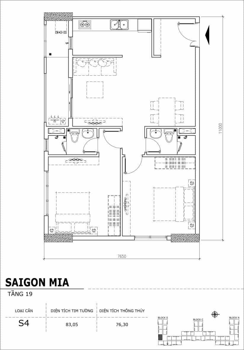 Chi tiết thiết kế căn hộ sân vườn tầng 19 Sài Gòn Mia Hưng Thịnh-Căn S4