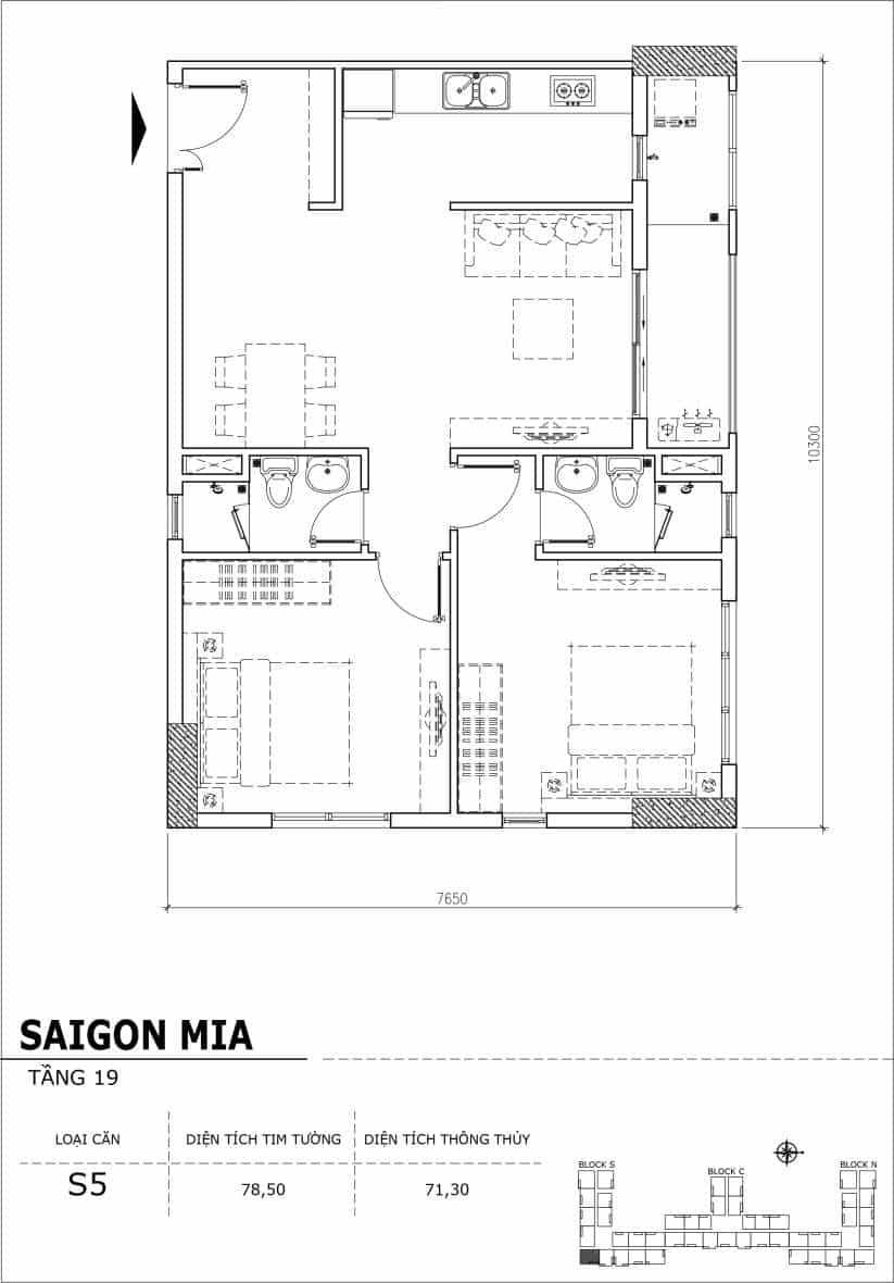 Chi tiết thiết kế căn hộ sân vườn tầng 19 Sài Gòn Mia Hưng Thịnh-Căn S5