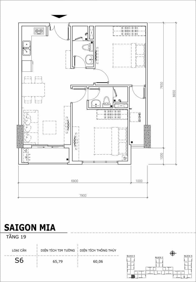 Chi tiết thiết kế căn hộ sân vườn tầng 19 Sài Gòn Mia Hưng Thịnh-Căn S6