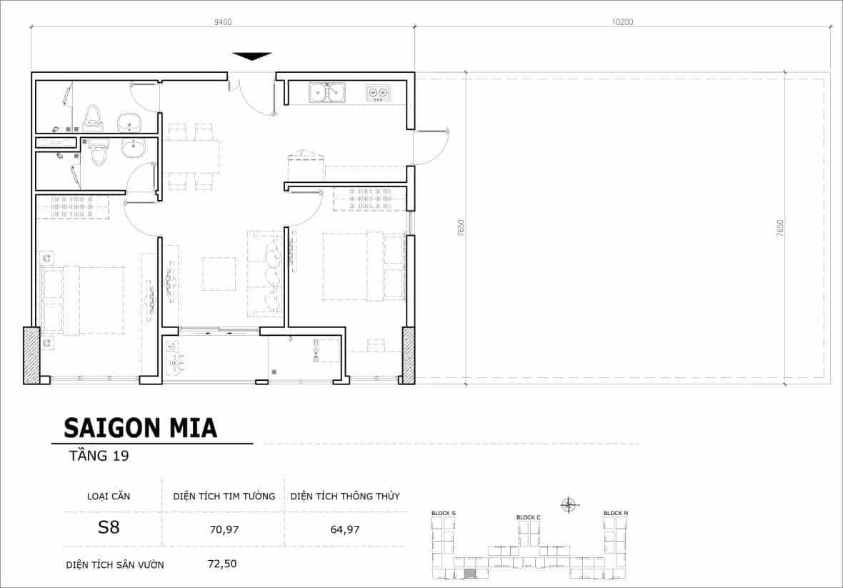 Chi tiết thiết kế căn hộ sân vườn tầng 19 Sài Gòn Mia Hưng Thịnh-Căn S8