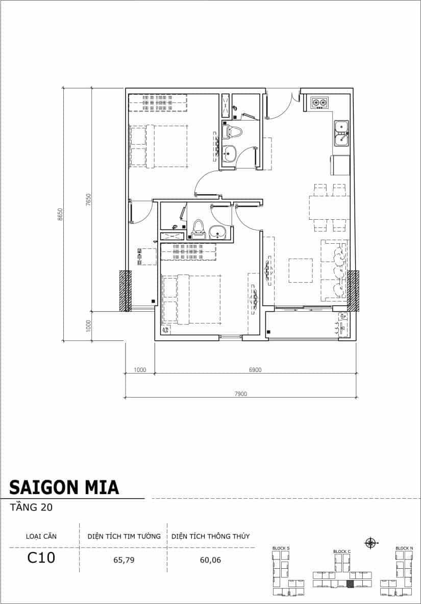 Chi tiết thiết kế Block N tầng 20 dự án Saigon Mia Trung Sơn-Căn C10