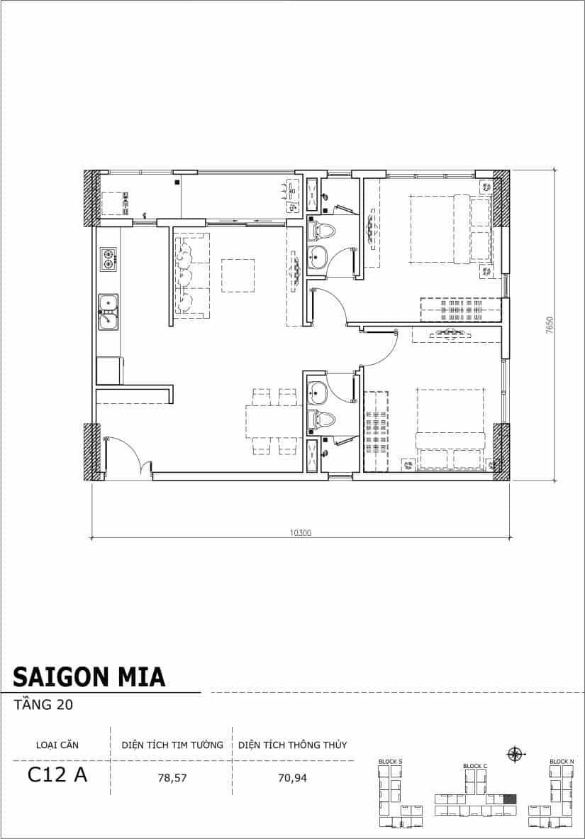Chi tiết thiết kế Block N tầng 20 dự án Saigon Mia Trung Sơn-Căn C12A
