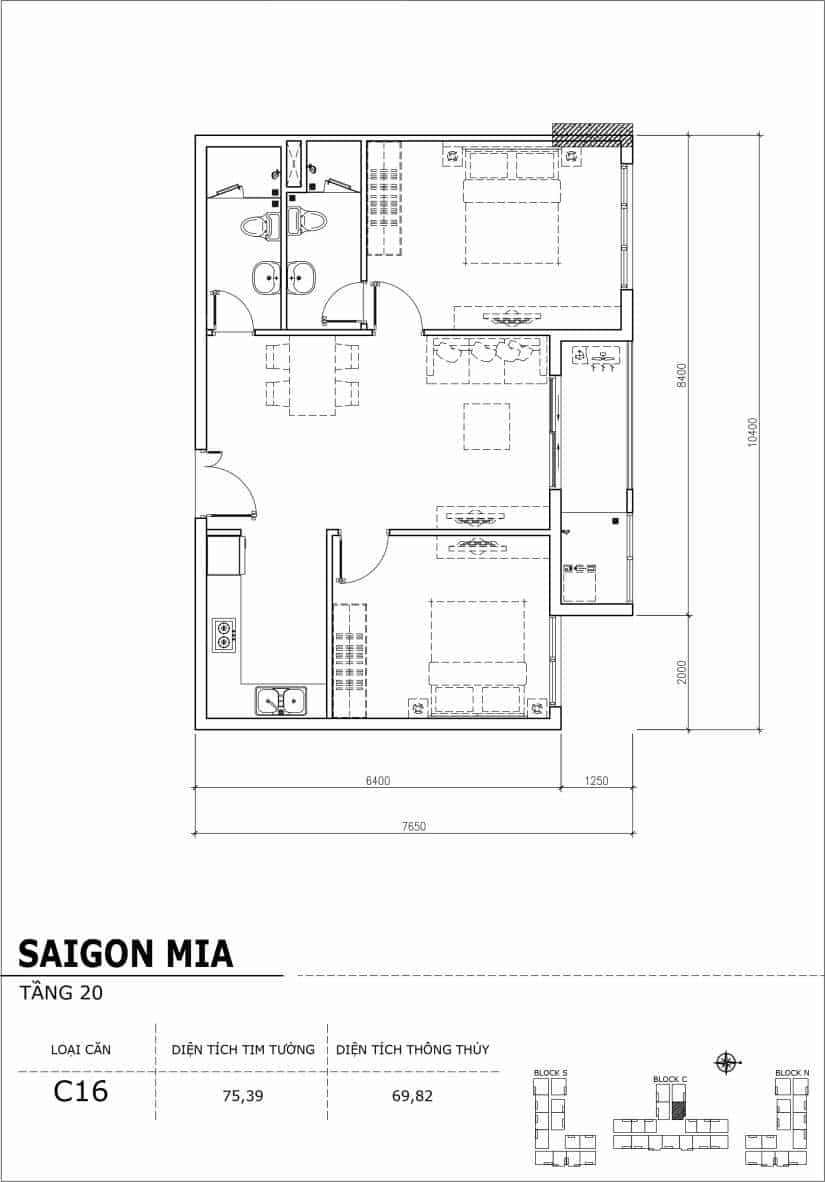 Chi tiết thiết kế Block N tầng 20 dự án Saigon Mia Trung Sơn-Căn C16