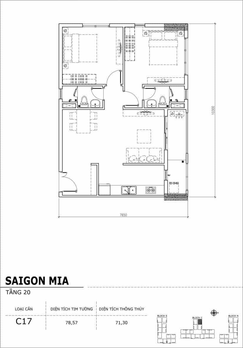 Chi tiết thiết kế Block N tầng 20 dự án Saigon Mia Trung Sơn-Căn C17