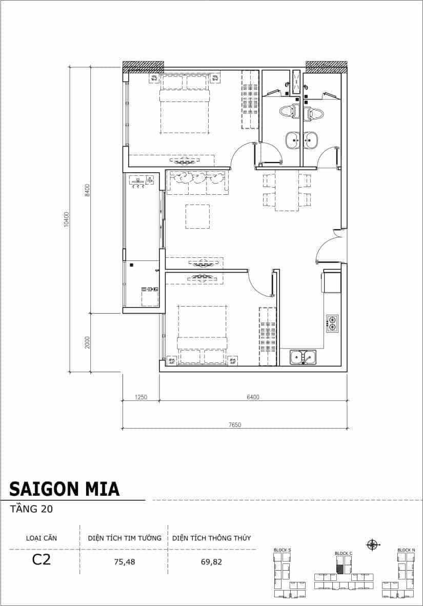 Chi tiết thiết kế Block N tầng 20 dự án Saigon Mia Trung Sơn-Căn C2