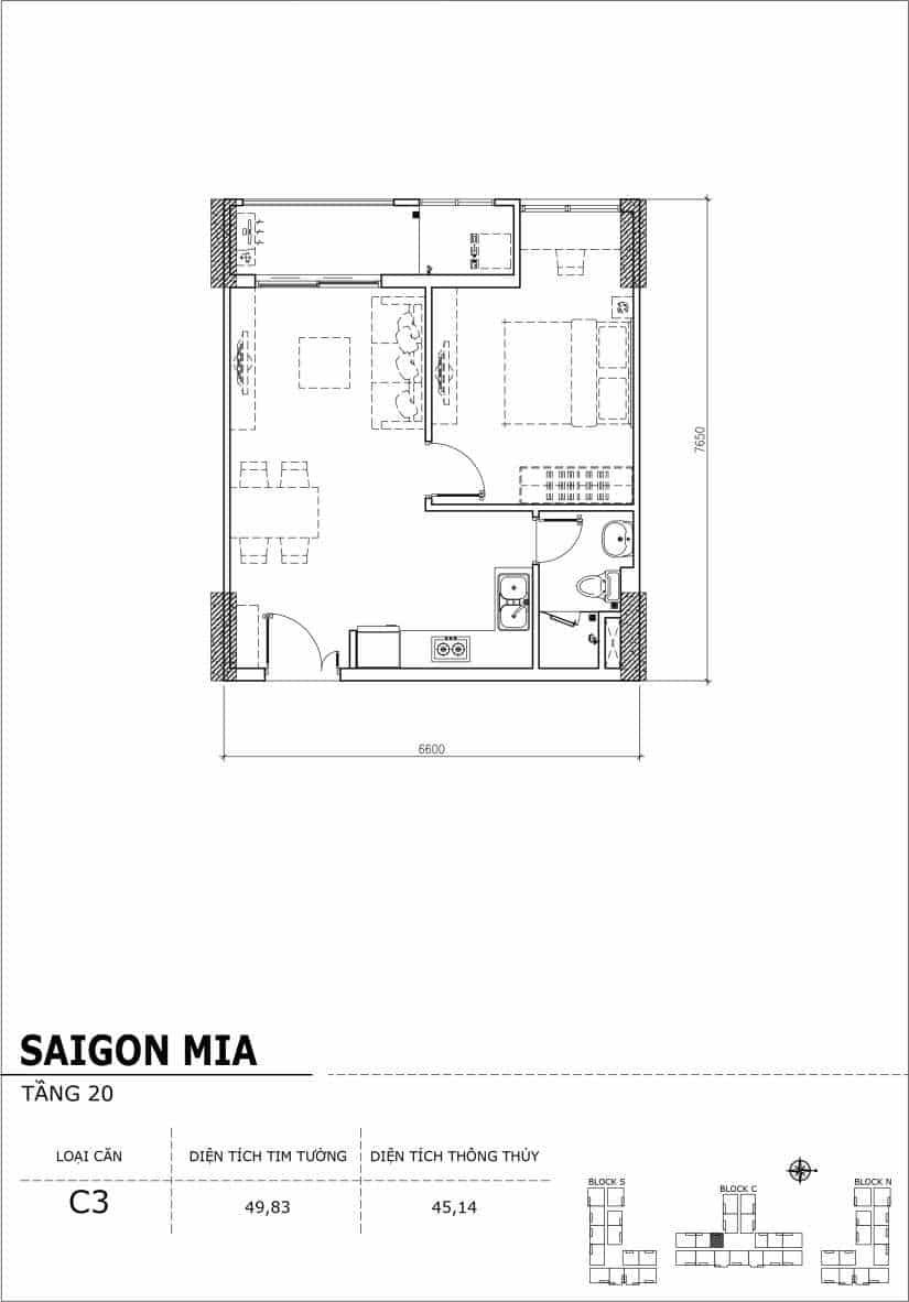 Chi tiết thiết kế Block N tầng 20 dự án Saigon Mia Trung Sơn-Căn C3