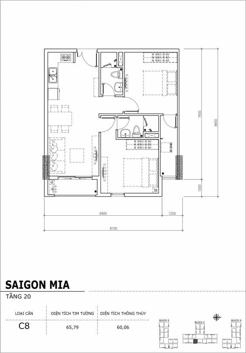 Chi tiết thiết kế Block N tầng 20 dự án Saigon Mia Trung Sơn-Căn C8