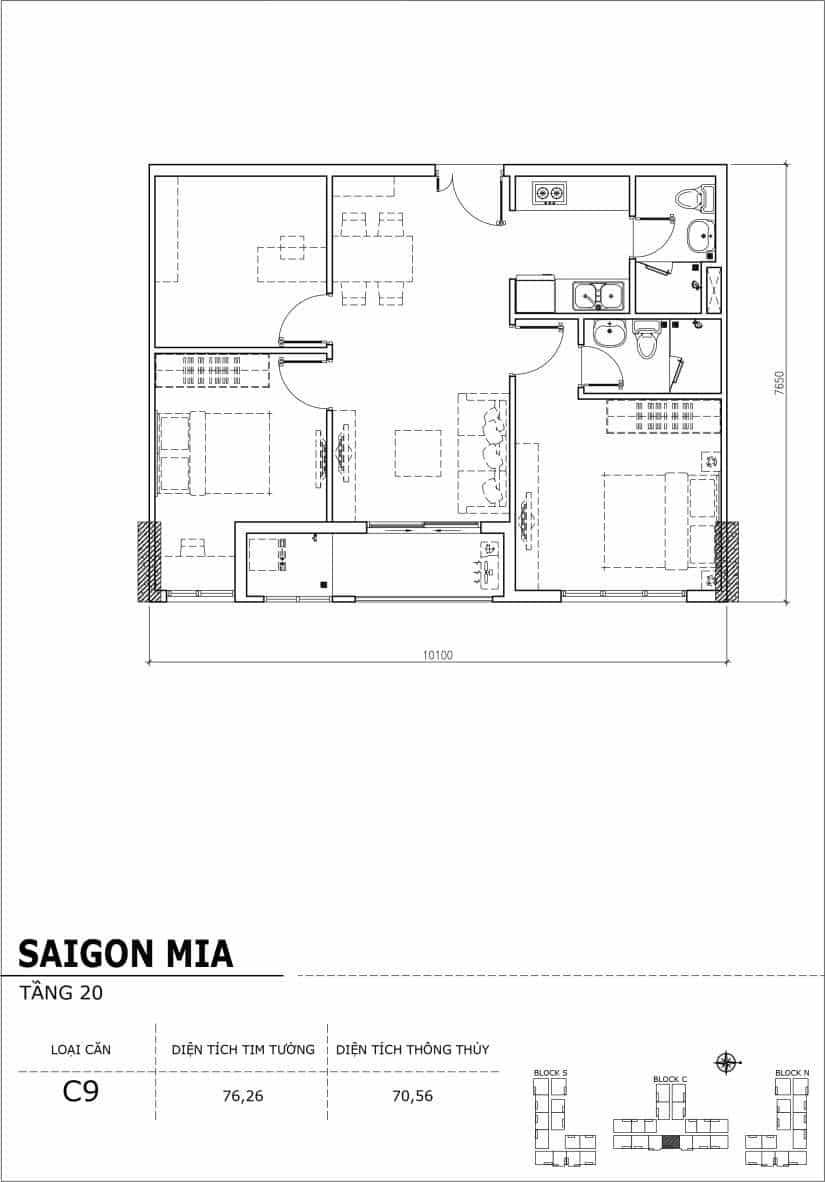 Chi tiết thiết kế Block N tầng 20 dự án Saigon Mia Trung Sơn-Căn C9