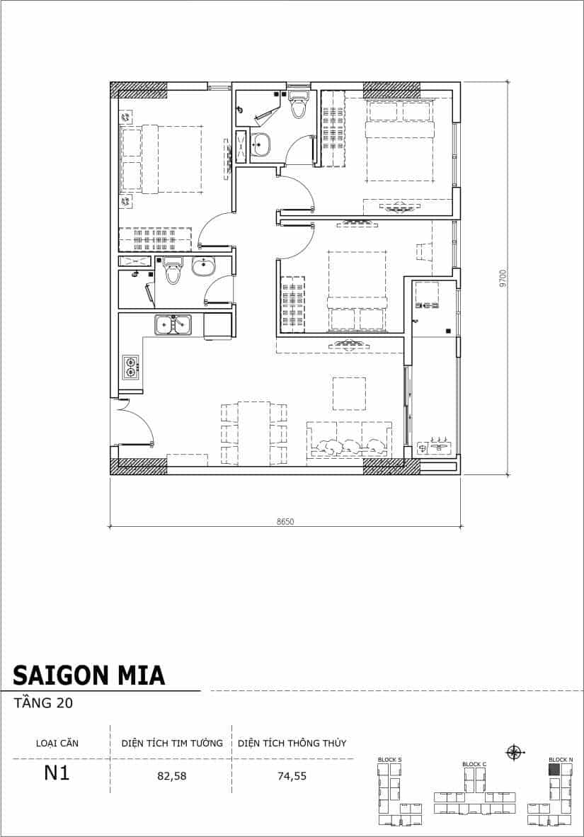 Chi tiết thiết kế căn hộ Saigon Mia tầng 20 - Căn N1