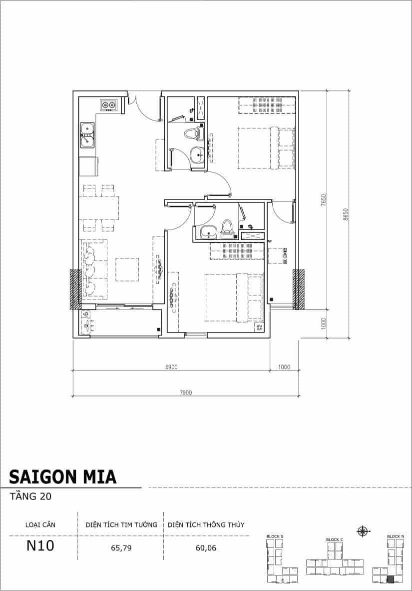 Chi tiết thiết kế căn hộ Saigon Mia tầng 20 - Căn N10