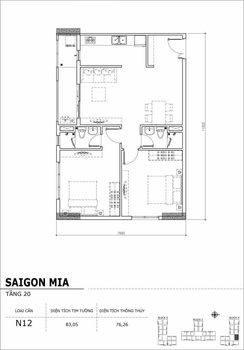 Chi tiết thiết kế căn hộ Sài gòn Mia tầng 20 - Căn N12