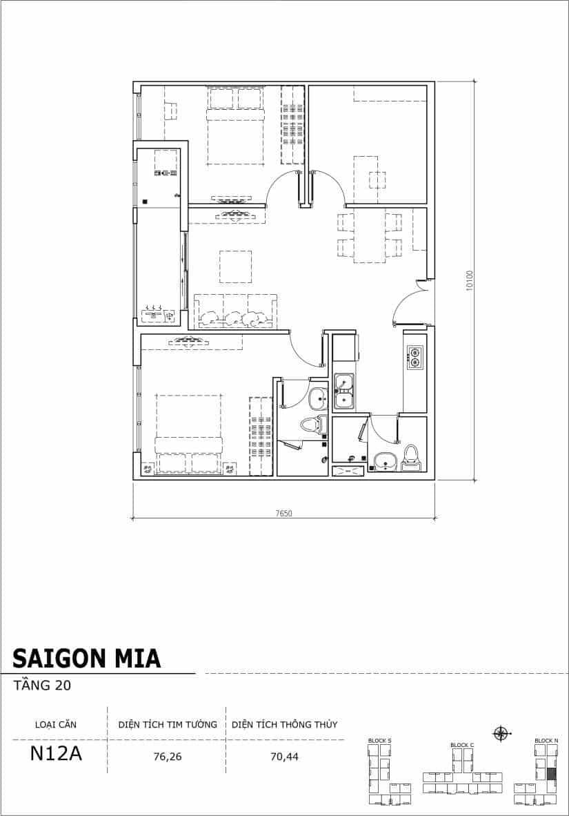 Chi tiết thiết kế căn hộ Saigon Mia tầng 20 - Căn N12A